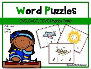 CVC, CCVC & CVCC Word Puzzles {Phonics Game}