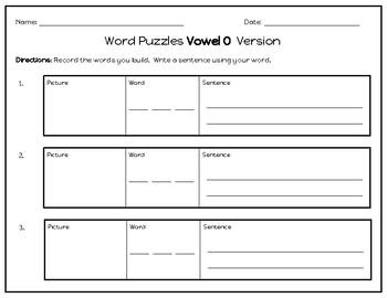 Word Puzzles (Short Vowel O Version)