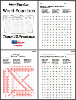 Word Puzzles - Word Search (Theme - U.S. Presidents) 5 NO PREP puzzles