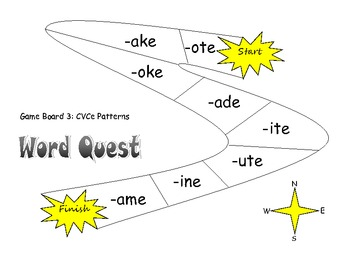 Word Quest Board Game for Learning Word Families