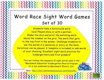 Word Race Sight Word Games Set Two