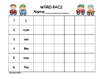 Word Race Sight Word Practice for 1st Grade Treasures