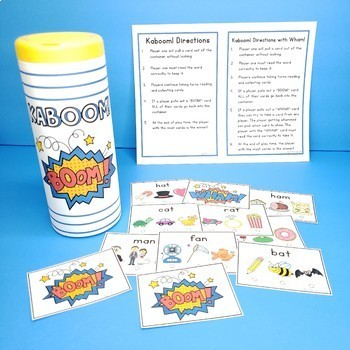 CVC Words Game Test Prep Task Cards Scoot or Kaboom