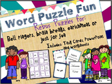 "Word ""Rebus"" Puzzle: Task Cards, Presentation and Worksheets"