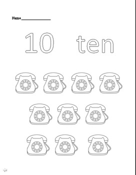 Word Recognition Coloring Book 1-10