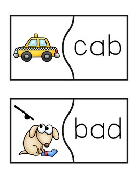 Word Recognition Puzzles - CVC Words Short A