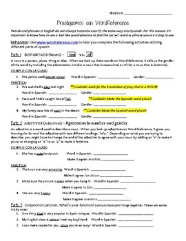 Word Reference Practice Activity - Advanced Version