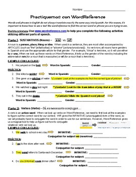 Word Reference Practice Activity - Basic Version