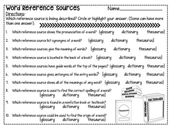 Word Reference Sources Mini Anchor Charts and Worksheet