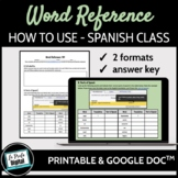 Word Reference for Beginners in Spanish / Sub Plan