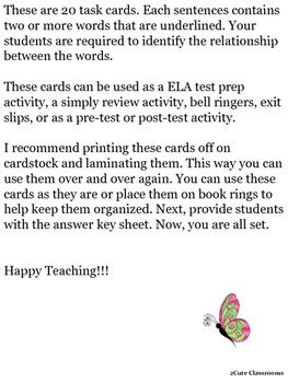 Word Relationship Task Cards