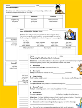 Word Relationships Activity Sheets