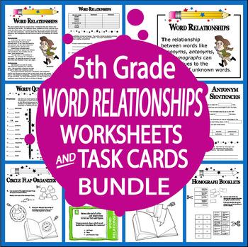 Word Relationships Worksheets & Task Card Bundle–Synonyms, Antonyms, Homographs