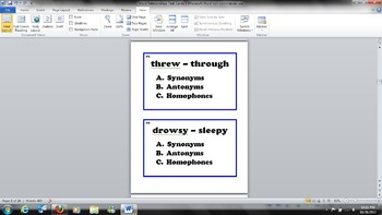 Word Relationships Task Cards - Antonyms, Synonyms, and Homophones