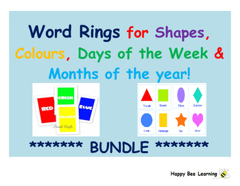 Word Rings for Colours, Shapes, Days of the Week and Months of the Year: BUNDLE!