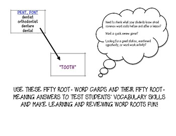 Word Root Match Card Game