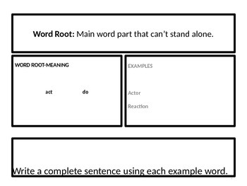 Word Roots Daily Warm-Up