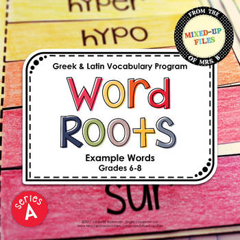 Word Roots Series A Example Words