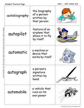 Word Roots Used as Prefixes #1 Greek Root AUTO