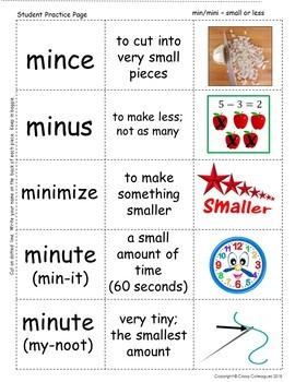 Word Roots Used as Prefixes #8 Latin Root MIN/MINI