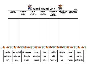 Word Round-Up: Parts of Speech Sort Activities