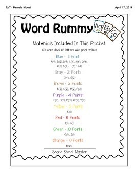 Word Rummy:  A Language Arts Card Game