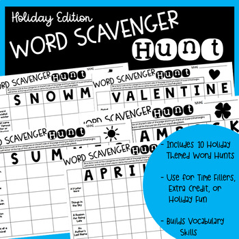 Word Scavenger Hunt - Monthly Vocabulary Activity