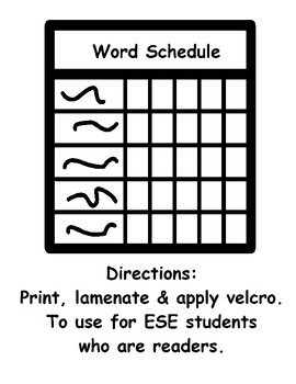 Word Schedule for ESE Students