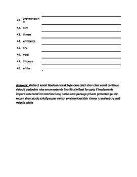 Word Scramble 48 JAVA Computer Programming Language Key Reserved Words