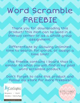 Word Scramble Literacy Center FREEBIE