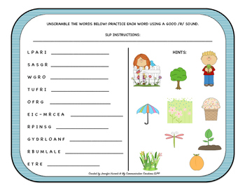 Word Scramble! For /R/ Blends Spring Speech Therapy Worksheet SLP