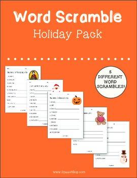 Word Scramble Holiday Pack