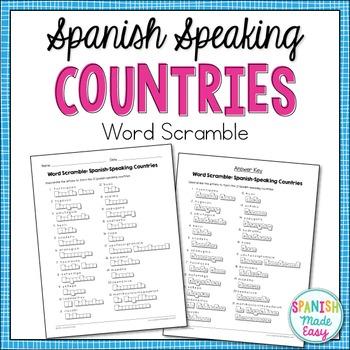 Spanish Countries Word Scramble