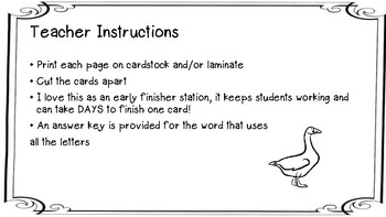 Word Scramble Task Cards