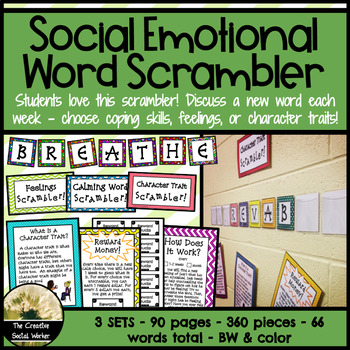 Word Scrambler Bulletin Board Set: Coping, Feelings, Character Traits