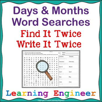 1st Grade Word Work Days of the Week Months of the Year