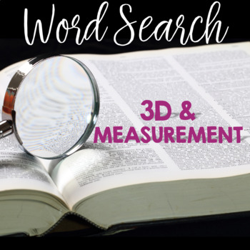 Word Search 3D FIGURES with SURFACE AREA & VOLUME
