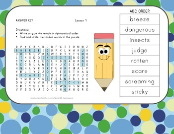 ABC Order and Word Search - Diary of a Spider - Journeys Aligned