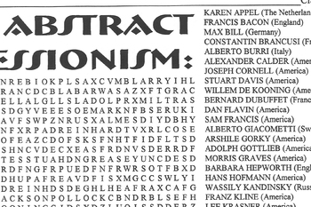 Word Search Abstract Expressionist Artists