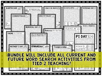 Word Search Activity Bundle: Holidays and Events