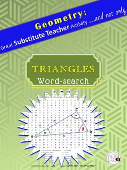 Geometry Word Search Puzzle: TRIANGLES /Substitute Teacher/ Emergency Plan