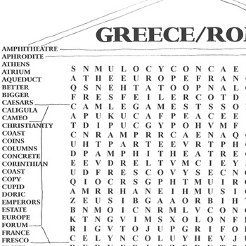 Word Search Ancient Greece and Rome