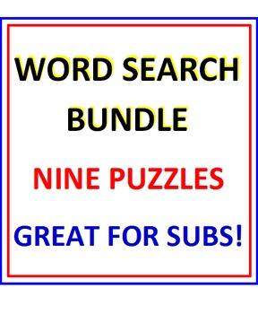 Word Search BUNDLE (NINE PUZZLES)