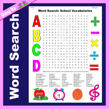 Word Search: Back to School
