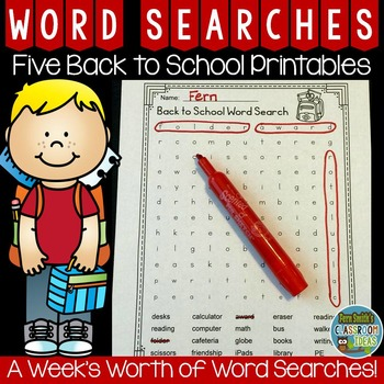 Word Search Five Back to School Printables