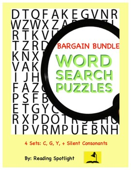 Sounds of C,G,Y &Silent Consonants Word Search Bargain Bundle(Distance Learning)