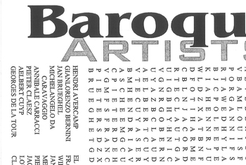 Word Search Baroque Artists