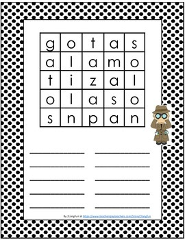 Word Search Boggle Style in Spanish and English