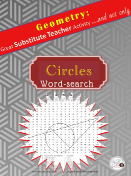 Word Search Circles Substitute Teacher Activity HS Geometry puzzle