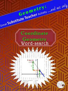 Word Search Coordinate Geometry Substitute Teacher Activity HS puzzle